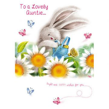 "AUNTIE BIRTHDAY CARD ""CUTE BUNNY WITH FLOWERS DESIGN"" SIZE 7"" x 5""  RNHH 0073"